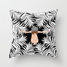 Black and white Botanical Design Throw Pillow