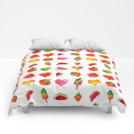 Cute colorful watercolor with hearts, watermelons, strawberries Comforters