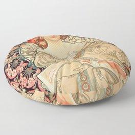 Mucha Daydream Art Nouveau Edwardian Woman Floral Portrait Floor Pillow