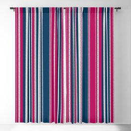 Navy, Pink and White Stripe Watercolor Blackout Curtain