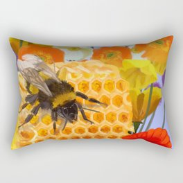 Honeycomb Poppies Rectangular Pillow