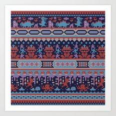 serbian history told through cross-stitch Art Print