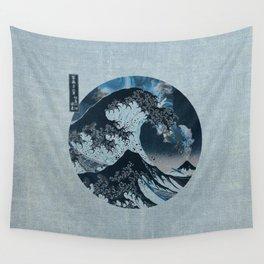 Great Wave Off Kanagawa Light Blue Wall Tapestry