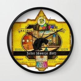 Vintage Zeller Schwarze Katz Wine Bottle Label Print Wall Clock