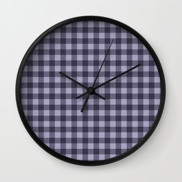 Gingham Pattern - Dark Mauve Wall Clock