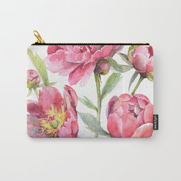 Peonies Watercolor Florals Botanical Design Carry-All Pouch