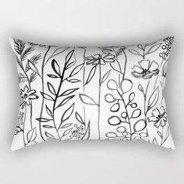 Black and White Flowers Rectangular Pillow