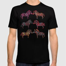 Zebras – Rainbow Palette X-LARGE Mens Fitted Tee Black