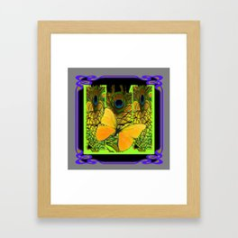 GREY-PURPLE ART NOUVEAU PEACOCK BUTTERFLY Framed Art Print