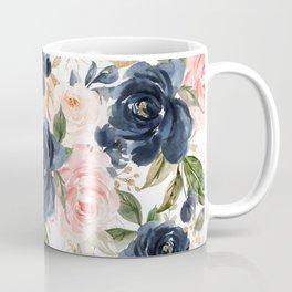 Navy Pink Watercolor Floral Pattern Nursery Flowers Coffee Mug