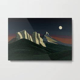 The Three Sisters and the Moon Metal Print