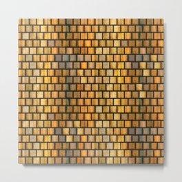 Wooden Distressed Block Tile Pattern Metal Print