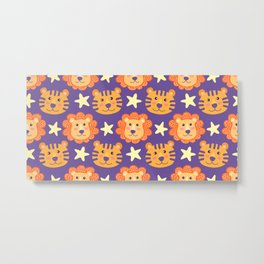 Seamless pattern with cute cartoon lions and tigers Metal Print