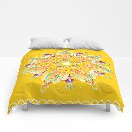 Yellow June Mandala Comforters