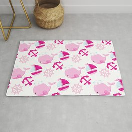 Whale Pattern, Sailor Whales, Sailor Boats - Pink Rug