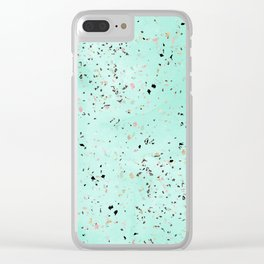 Mint and gold marble terrazzo design Confetti Clear iPhone Case