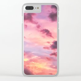 Pink Cotton Candy Sunset Sky Clear iPhone Case