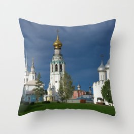 Landscape with the Ancient Saint Sophia Cathedral and Vologda Kremlin in the Russian North Throw Pillow