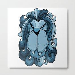 Lion - Sailor Blue Metal Print