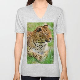 Lounging Leopard Unisex V-Neck