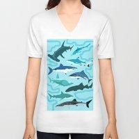 sharks V-neck T-shirts featuring Sharks by Raffles Bizarre