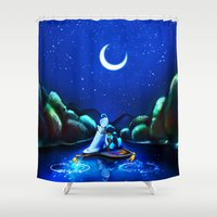 aladdin Shower Curtains featuring Starry Night Aladdin by ThreeBoys