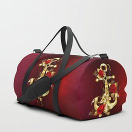 Golden Anchor with Roses Duffle Bag