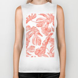 Tropical Hibiscus and Palm Leaves Dark Coral White Biker Tank
