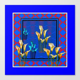 Blue Art White Calla Lilies Red Patterns Canvas Print