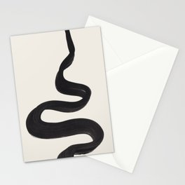 Minimalist Abstract Art Smoke Genie In The Lamp Mythical Magical Ink Art Black & White Stationery Cards