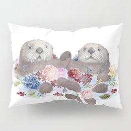 Sea Otters Holding Hands, Love Art Pillow Sham