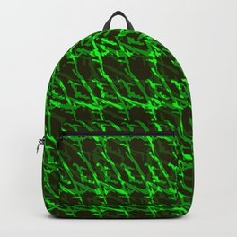 Braided geometric pattern of wire and light blue arrows on a dark background. Backpack