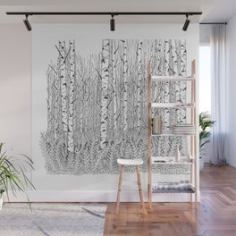 Birch Trees Black and White Illustration Wall Mural