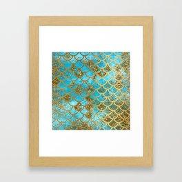 Aqua Teal & Gold Glitter MermaidScales - Mermaid Scales And Sea Foam Framed Art Print