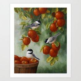 Chickadees and Apple Tree Harvest Art Print