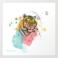 tiger Art Prints featuring tiger by mark ashkenazi