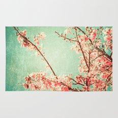 Pink Autumn Leafs on Blue Textured Sky (Vintage Nature Photography) Rug