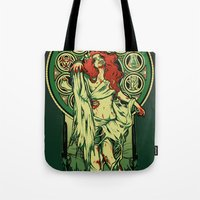 zombie Tote Bags featuring Zombie Nouveau by Megan Lara