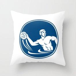 Water Polo Player Throw Ball Circle Icon Throw Pillow