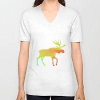moose V-neck T-shirts featuring Moose by Steven Springer