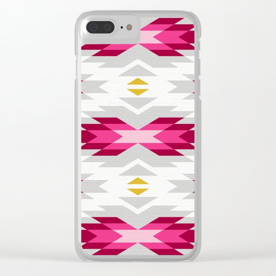 Tribal pattern - grey and pink Clear iPhone Case