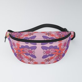 pattern with leaves and flowers doodling style Fanny Pack