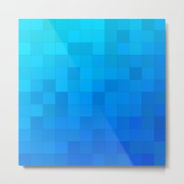 Simple Blue Geometric Squares Pattern Metal Print