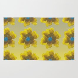 Yellow flower on blue repeat Rug