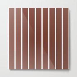 Vertical Lines (White & Maroon Pattern) Metal Print