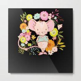Little Flowers Mouse I Watercolor Motif Metal Print