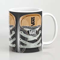 vans Mugs featuring Cute black Vans all star baby shoes apple iPhone 4 4s 5 5s 5c, ipod, ipad, pillow case and tshirt by Three Second