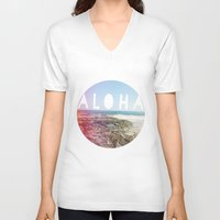 aloha V-neck T-shirts featuring Aloha by Sunkissed Laughter