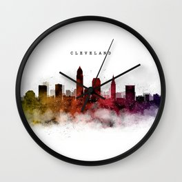 Cleveland Watercolor Skyline Wall Clock