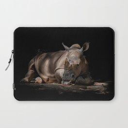 12,000pixel - 500dpi, High Quality Photograph - Lying Rhino Laptop Sleeve